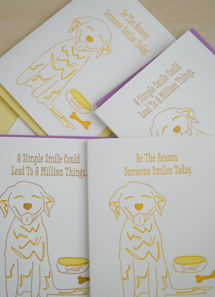 Smile letterpress note cards