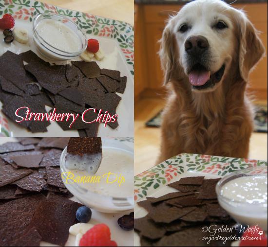 Strawberry Chips w/ Banana Dip: Dog Treat