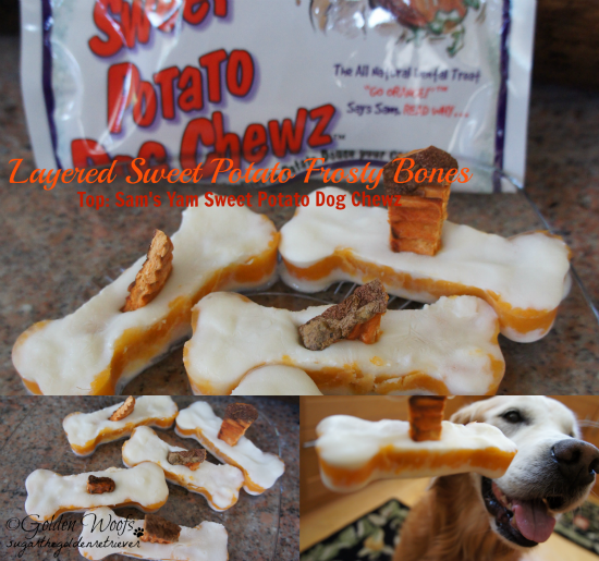 Layered Sweet Potato Frosty Bones Top w/ Sam's Yam Chewz