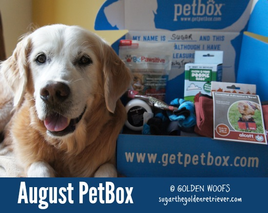 monthly pet subscription box august petbox review golden woofs. Black Bedroom Furniture Sets. Home Design Ideas