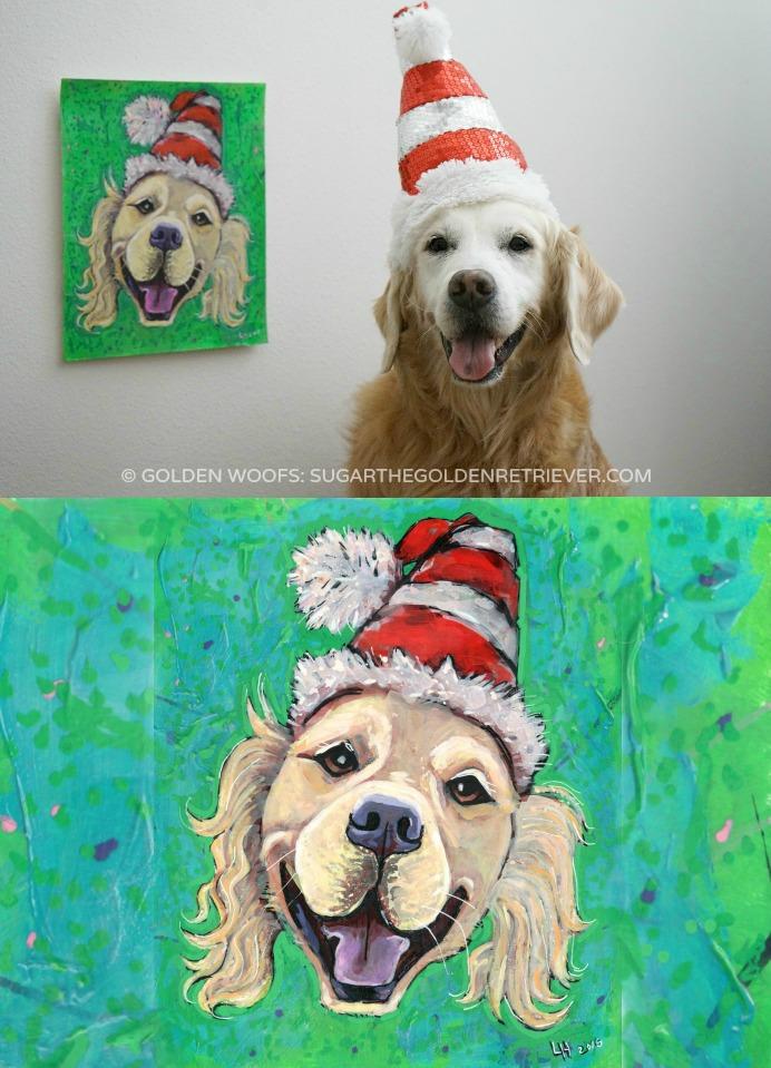 SUGAR Santa Dog Painting
