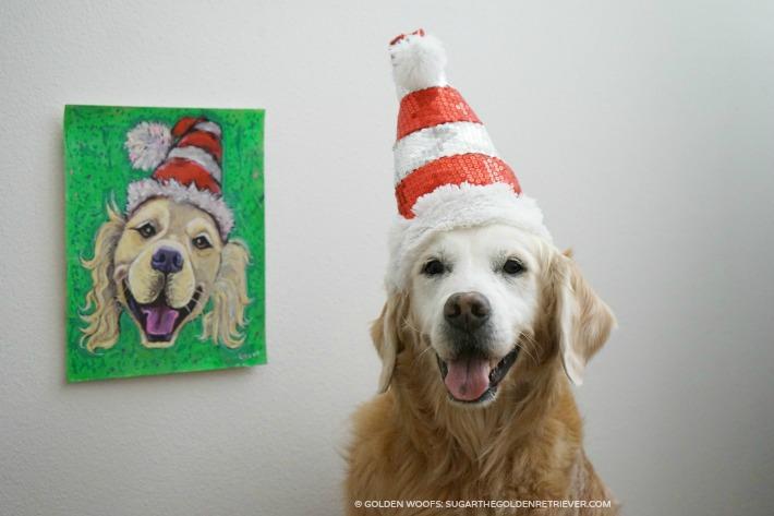SUGAR Santa Dog Painting by LIZ from HotDogPix.com