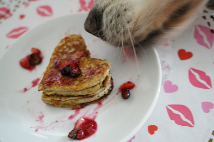 dog treat Heart Shaped Banana Pancake with Berry Syrup