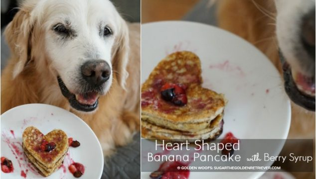 Heart-Shaped Banana Pancake with Berry Syrup
